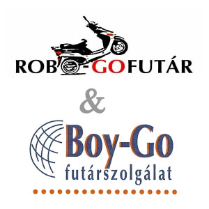 Robogófutár és Boy-Go futár logo - cég egyesülés cikk illusztráció